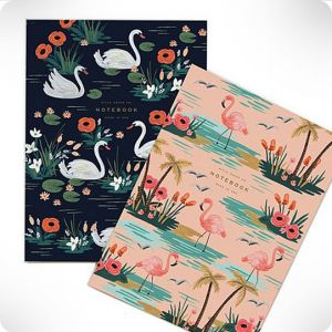 Set de 2 notebook Cygne Flamant Rose