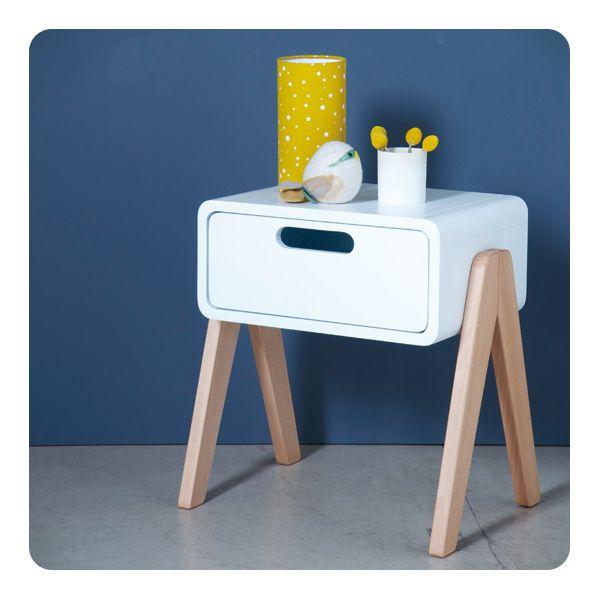 chevet petit robot with wooden natural feet laurette. Black Bedroom Furniture Sets. Home Design Ideas