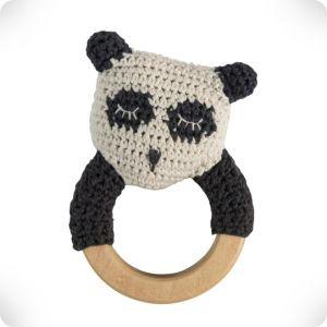 Hochet anneau en bois Panda