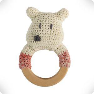 Hochet anneau en bois Ours