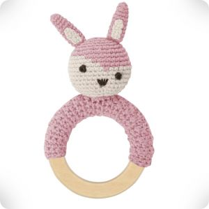 Hochet anneau en bois Lapin rose