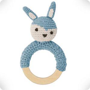 Hochet anneau en bois Lapin bleu