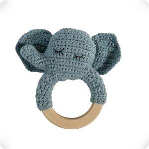 Hochet anneau en bois Eléphant bleu