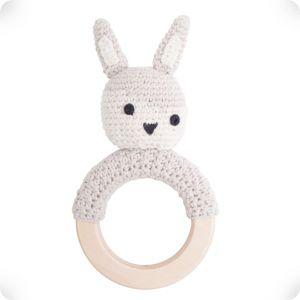 Hochet anneau en bois Lapin snow