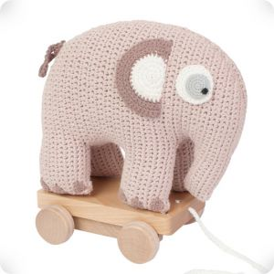 Pink elephant on wheels