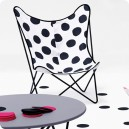 Chaise Papillon tissu Dots grey