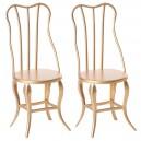 Set de 2 chaises vintage or
